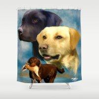 labrador Shower Curtains featuring Labrador Retrievers by Becky's Digital Art