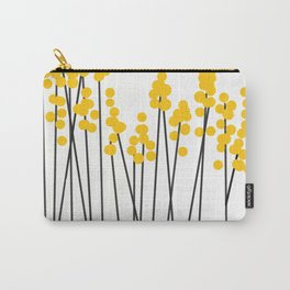 Hello Spring! Yellow/Black Retro Plants on White #decor #society6 #buyart Carry-All Pouch