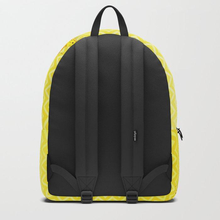 Butterflies on buttercup yellow chevron pattern Backpack