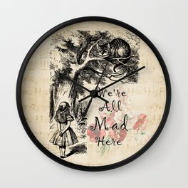 We're All Mad Here - Alice In Wonderland Wall Clock