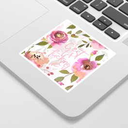 c'est la fucking vie - blush florals Sticker