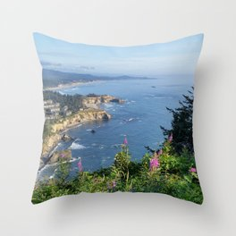 Otter Rock, Oregon from Cape Foulweather Vantage Point Throw Pillow