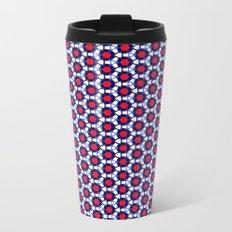 Red & Blue Pattern Metal Travel Mug