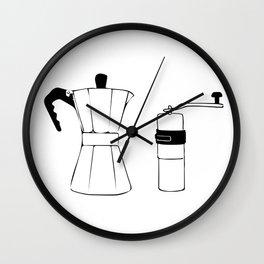 Coffee Tools: Moka Pot & Coffee Grinder Wall Clock