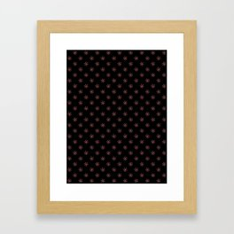 Coral Pink on Black Snowflakes Framed Art Print