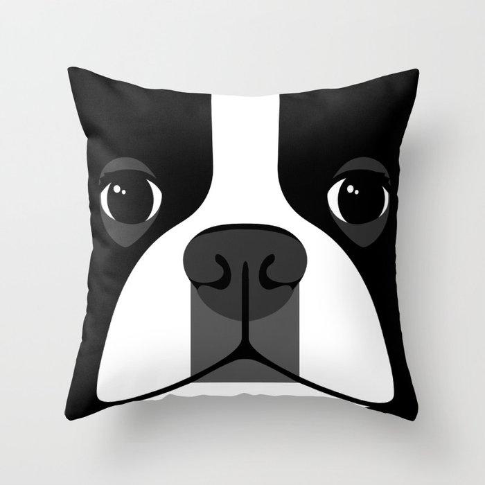 Boston Terrier Close Up Throw Pillow
