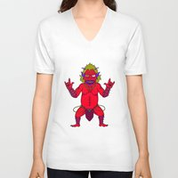 fat V-neck T-shirts featuring Fat Demon by  Grotesquer