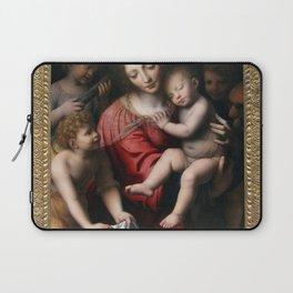 Bernardino Luini - Madonna and Sleeping Child with Three Angels Laptop Sleeve