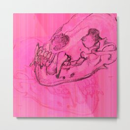 pink skull Metal Print