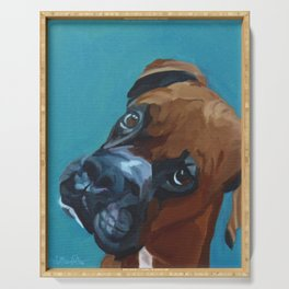 Leo the Boxer Dog Portrait Serving Tray