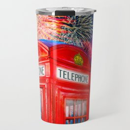 Fun Fireworks Over An Iconic Red British Phone Box Travel Mug