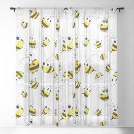 Positive cartoon bee Sheer Curtain