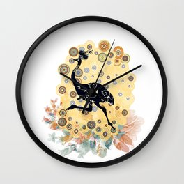 Little ostrich in colors Wall Clock