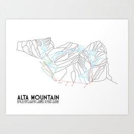 Alta, UT - Minimalist Trail Map Art Print