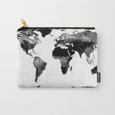 World Map  Black & White Carry-All Pouch