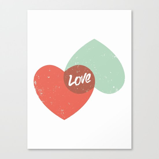 Two lovely hearts Canvas Print