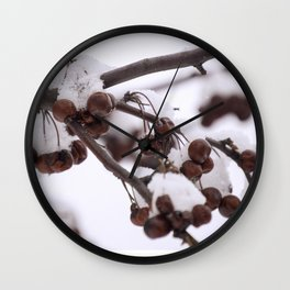Berries in Snow Wall Clock