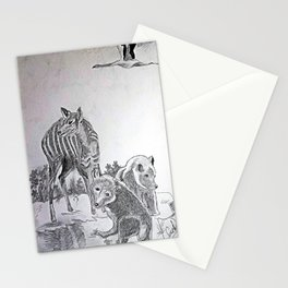 Deer Mom and the Bear cubs Stationery Cards