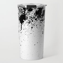 BLACK INDIAN INK SPLASH ON WHITE PAPER  Travel Mug