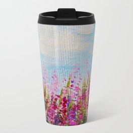 Forever Pink, Pink Wildflower Impressionism, Pink Home Decor Metal Travel Mug
