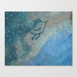 Primitive bird flying over a stream of wool in a rainy day Canvas Print