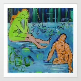 behind glas painting Art Print