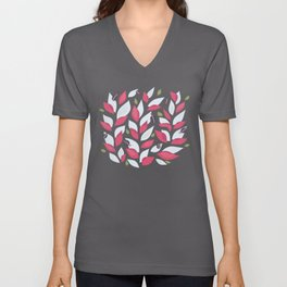 Pretty Plant With White Pink Leaves And Ladybugs Unisex V-Neck