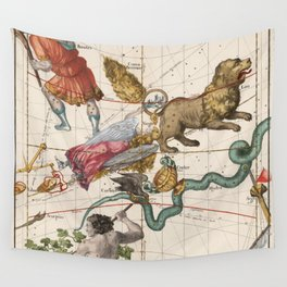 Vintage Constellation Map - Star Atlas - Leo - Virgo Wall Tapestry
