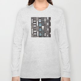 Gray Facade with Lighted Windows Long Sleeve T-shirt