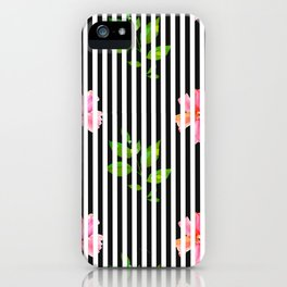 Geometrical black white stripes pink floral iPhone Case