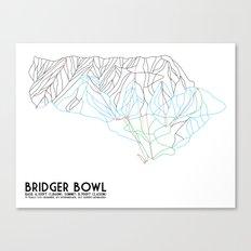 Bridger Bowl, MT - Minimalist Trail Art Canvas Print