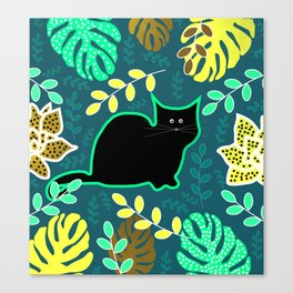 Curious cat and monstera leaves Canvas Print