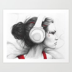 MUSIC Girl in Headphones Art Print