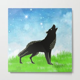 Hand drawn fox #3 * pretty tribal animals rustic woodland country Metal Print