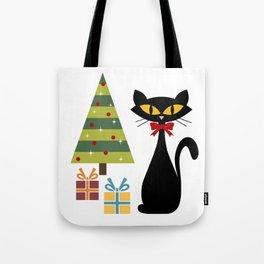 Mid Century Christmas cat Tote Bag