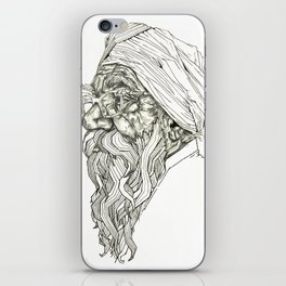Geometric Graphic Black and White Drawing Indian Sikh iPhone Skin