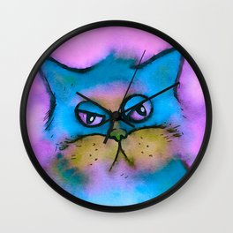 Bored Cat Watercolor Wall Clock