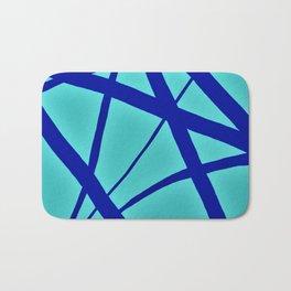 Glowing Aqua and Cobalt Geometric Abstract Bath Mat