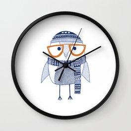 Hipster owl - orange glasses Wall Clock