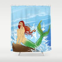 ariel Shower Curtains featuring ARIEL by Ismael Álvarez