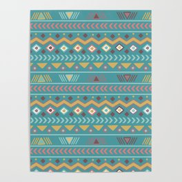Geometrical abstract vintage green yellow aztec tribal Poster