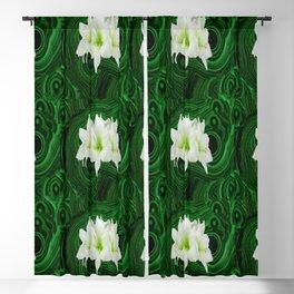 WHITE-GREEN AMARYLLIS FLOWERS ON MALACHITE ART Blackout Curtain