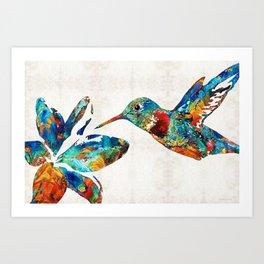 Colorful Hummingbird Art by Sharon Cummings Art Print