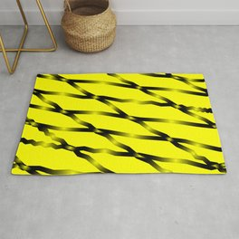 Slanting black lines and rhombuses on yellow with intersection of glare. Rug