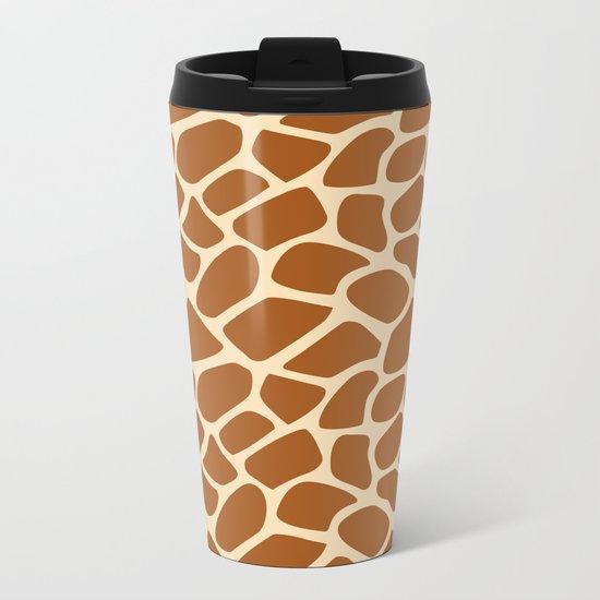 Giraffe Animal Print Pattern Metal Travel Mug