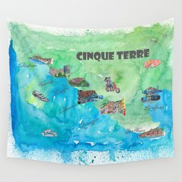 Cinque 5 Terre Italy Favorite Travel Map with touristic Top Ten Highlights Wall Tapestry