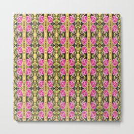 Pink roses with golden stripes pattern Metal Print