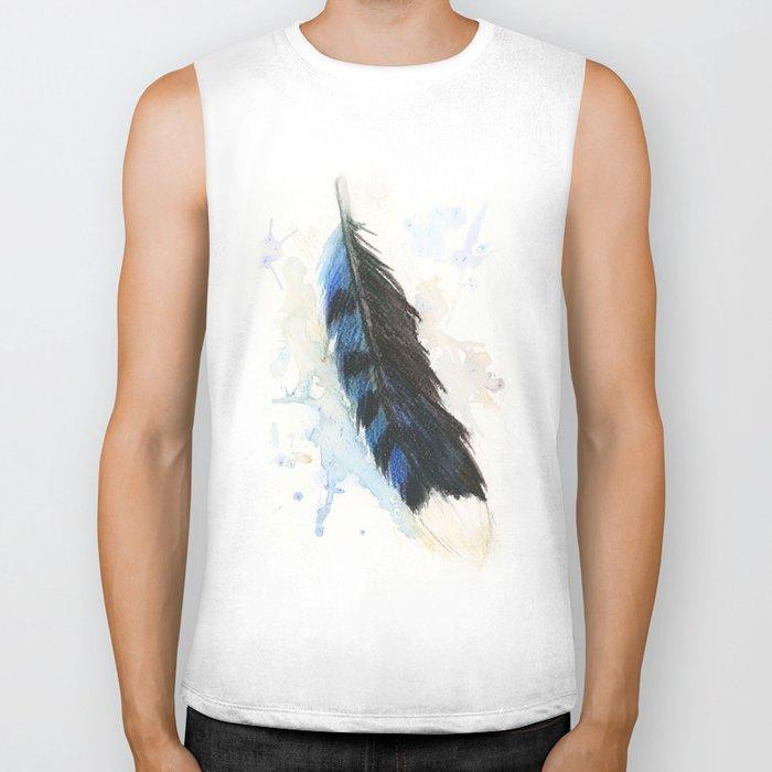 Watercolor Blue Jay Feather Biker Tank