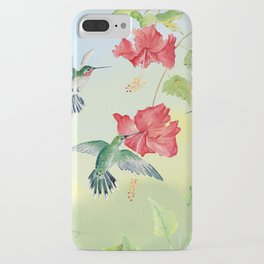 Colorful Hummingbirds and Hibiscus  iPhone Case
