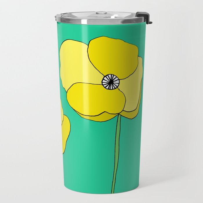 Bright Yellow and Mint Green Poppies Growing and Thriving Travel Mug